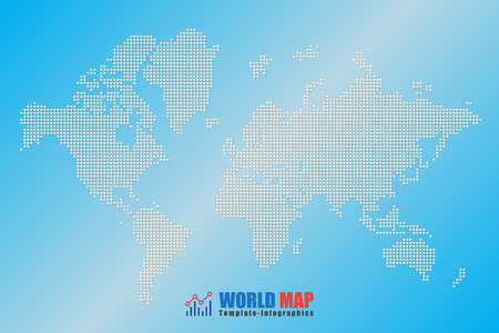 Design template, abstract computer graphic World Map of white round dots. Vector illustration Illustration