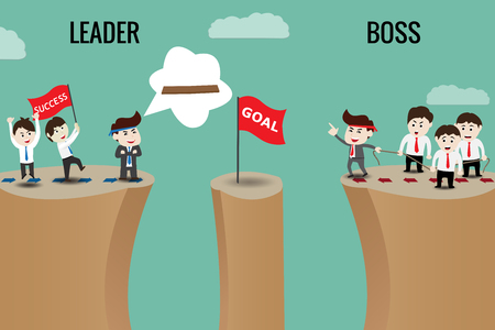 The difference between leader and boss, template Stock Vector - 71454909