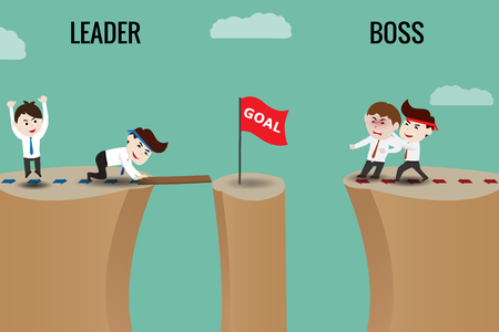 The difference between leader and boss, template Иллюстрация