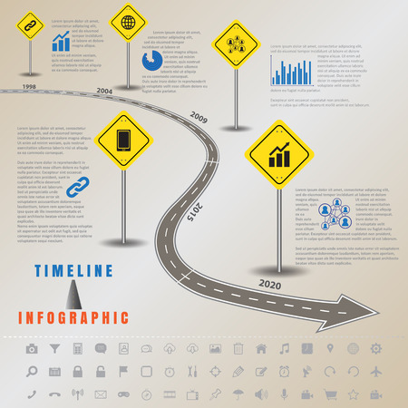 Design template, Timeline infographics traffic signs with elements and set of icons. Vector illustration Illustration
