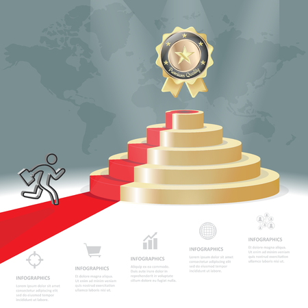 Five staircase strategy steps go to golden badge, Vector business infographics template.