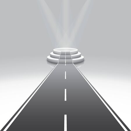 Design template, illuminated 3d isolated Road to empty podium for reward. Illustration