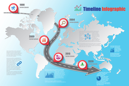 Design template, world road map timeline infographic.