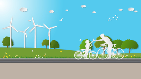 greensward: Father and son are to join hands together while do activities cycling in meadow. Illustration
