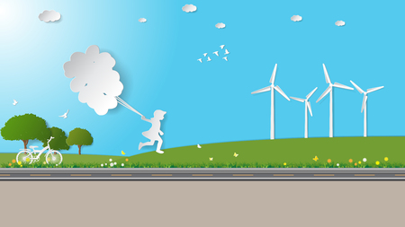 greensward: Girl are running and holding balloons in meadow. Paper art vector illustration