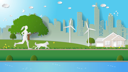 Woman and her dog are running in city parks. Paper art vector illustration