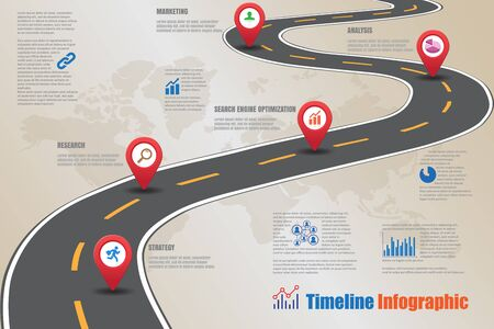 Road map timeline infographic.