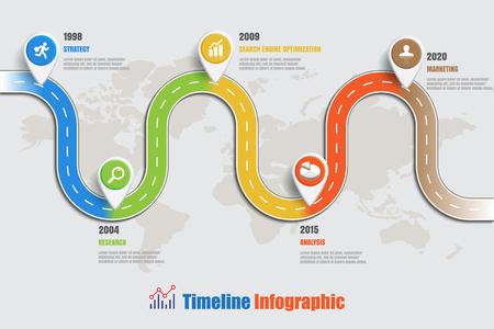 Plantilla del diseño, infographic de la línea de tiempo del mapa de camino. Ilustración vectorial Foto de archivo - 78064113
