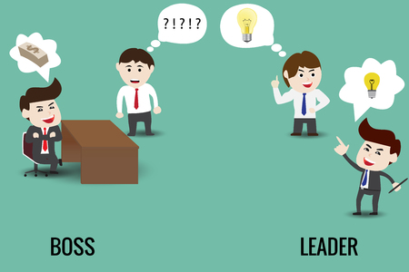 The difference between leader and boss, template 向量圖像