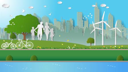 Les concepts d'énergie verte, la famille se promènent dans les parcs de la ville. Illustration vectorielle de papier art