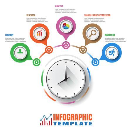 Design template, Modern Infographic process template. Vector illustration