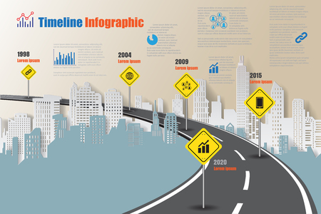 Design template, city timeline infographic. Vector Illustration