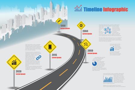 Design template, city timeline infographic. Vector Illustration