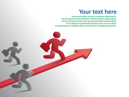 Design template, Running businessman on growth of progressive business, vector illustration