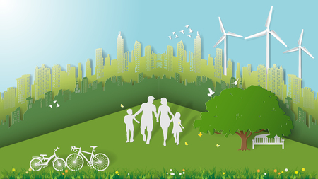Green energy concepts, family are walking in city parks. Paper art vector illustration