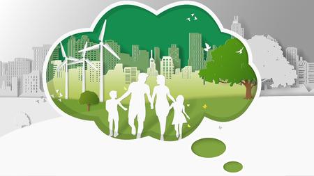 Conceptos de energía verde, la familia está caminando en los parques de la ciudad en la caja de pensamiento. Ilustración de vector de arte de papel