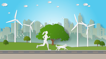Green energy concepts, woman and her dog are running in city parks. Paper art vector illustration