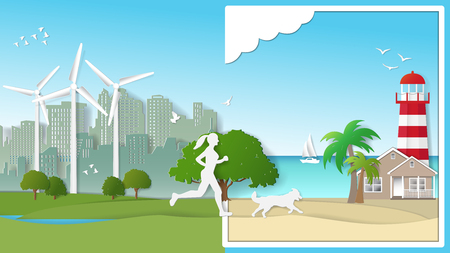 Green energy concepts, woman and her dog are running from city parks to beach. Paper art vector illustration Vettoriali