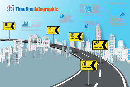 compatibility: Design template, city timeline infographic. Vector Illustration