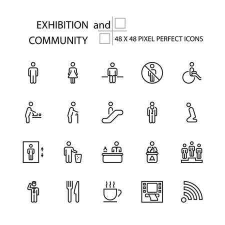 EXHIBITION and COMMUNITY vector line 48x48 Pixel Perfect Icons, Editable Stroke.