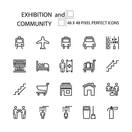 EXPOSICIÓN y la línea de vector de la COMUNIDAD 48x48 Pixel Perfect Icons, Editable Stroke. Ilustración de vector