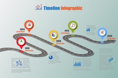 Ontwerp sjabloon, routekaart tijdlijn infographic. Vectorillustratie