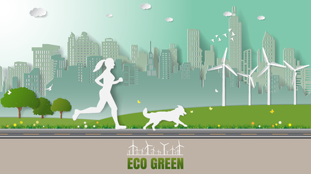 running: Green energy concepts, woman and her dog are running in city parks. Paper art vector illustration