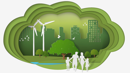 Green energy concepts, dimension of thinking, family are walking in park of green city. Paper art vector illustration