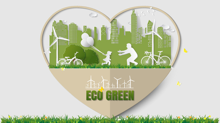 greensward: Green energy concepts - heart frame, girl are running and holding balloons to her dad in meadow near city. Paper art vector illustration