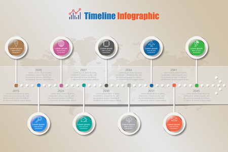 report icon: Design template, modern business timeline infographic process can be used for brochure,diagram,planning,presentation,website,workflow. Vector illustration Illustration