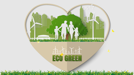 greensward: Green energy concepts - heart frame, family are walking in park of green city. Paper art vector illustration Illustration