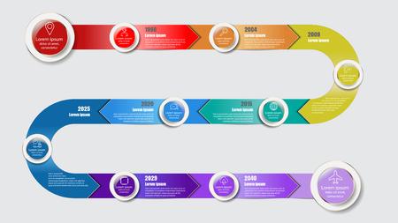La plantilla del diseño, infographic del cronograma del mapa de camino se puede utilizar para el folleto, diagrama, planeando, presentación, proceso, Web site, flujo de trabajo. Ilustración del vector Foto de archivo - 81005483