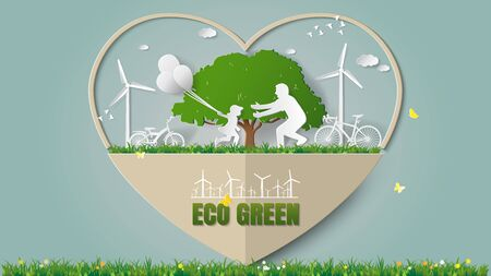 Green energy concepts - heart frame, girl are running and holding balloons to her dad in meadow. Paper art vector illustration Stock fotó - 81005485