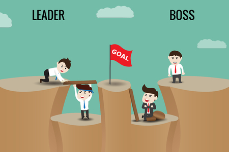 The difference between leader and boss, template Stock Vector - 81005522
