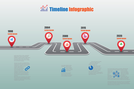 edifice: Design template, road map timeline infographic can be used for brochure,diagram,planning,presentation,process,website,workflow. Vector illustration