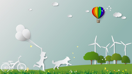 greensward: Green energy concepts, girl is running and holding balloons with her dog in meadow which full of wind turbine. Paper folding art origami style vector illustration Illustration