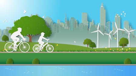 緑の再生可能エネルギー環境に優しいコンセプト、父と息子の公園で自転車に乗っています。紙アートのベクトル図