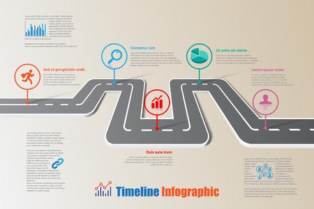 デザイン テンプレート、プレゼンテーションのプロセス web ページ ワークフローの計画道路地図タイムライン インフォ グラフィック パンフレット