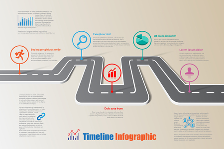 디자인 템플릿, 로드맵 타임 라인 Infographic 브로셔 다이어그램 계획 프레젠테이션 프로세스 웹 페이지 워크 플로우. 벡터 일러스트 레이 션 일러스트