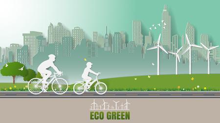 Groene duurzame energie milieuvriendelijke concepten, vader en zoon fietsen in stadsparken. Papier kunst vectorillustratie