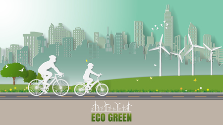 Green renewable energy environmentally friendly concepts, father and son are riding bicycle in city parks. Paper art vector illustration Vettoriali