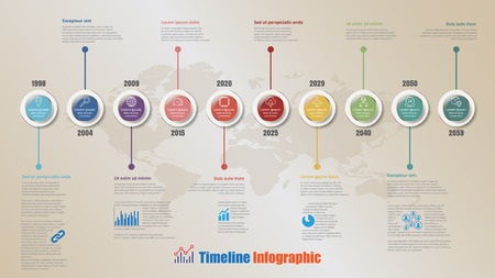 Modern timeline infographic with steps circle designed for template brochure diagram planning presentation process web pages workflow. Vector illustration.