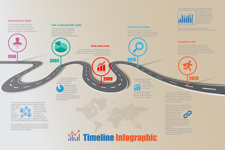 compatibility: Design template, road map timeline infographic brochure diagram planning presentation process webpages workflow. Vector illustration