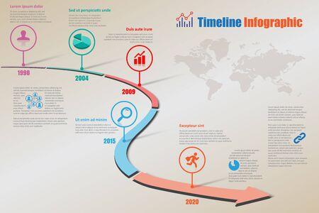 Design template, road map timeline infographic brochure diagram planning presentation process webpages workflow. Vector illustration