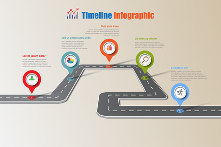 Business road map timeline infographic icons designed for abstract background template elements modern diagram process web pages workflow digital marketing data presentation chart Vector illustration