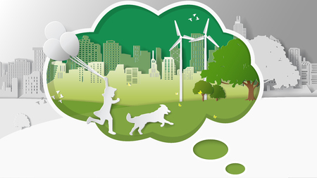 greensward: Green renewable energy ecology technology power saving environmentally friendly concepts, girl run hold balloons with dog thinking box wind turbine. Paper folding art origami style vector illustration