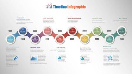 Business road map timeline infographic with 10 steps circle designed for background elements diagram planning process webpages workflow digital marketing data presentation chart. Vector illustration Illustration