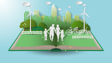 Paper folding art origami style vector illustration. Green renewable energy ecology technology power saving environmentally friendly concepts, family parent boy girl are walking in city parks on book. Vector Illustration