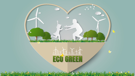 greensward: Paper folding art origami style vector illustration. Green renewable energy eco power saving environmentally friendly concepts-heart frame, girl is running to dad in meadow which full of wind turbine. Illustration