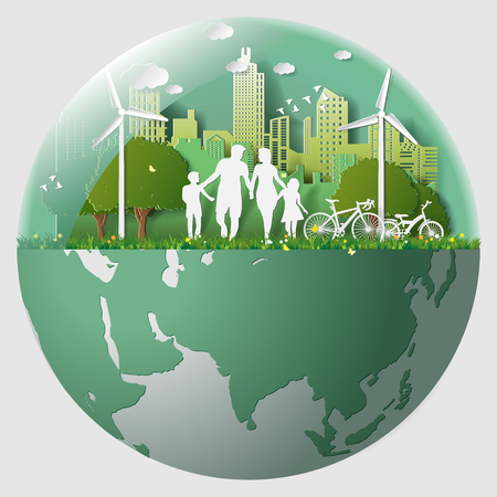 Paper folding art origami style vector illustration Green renewable energy ecology technology power saving environmentally friendly concepts, family parent boy girl are walking in city parks in marble
